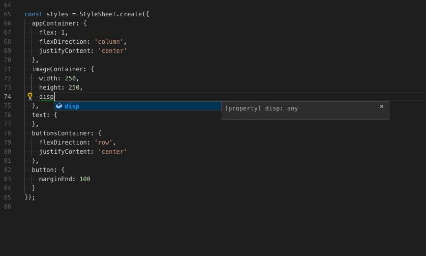 解决Vscode开发React Native应用时编写Stylesheet没有智能代码提示的问题 JavaScript 第2张