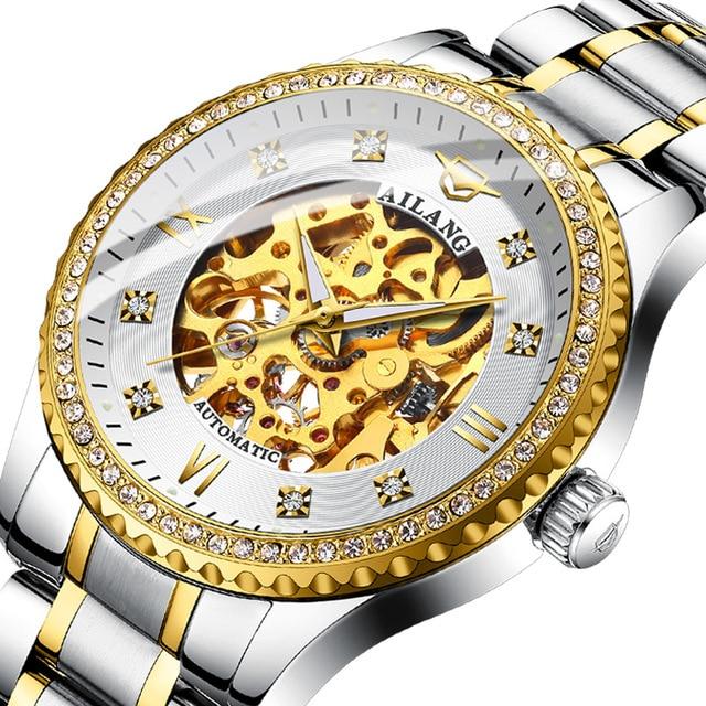 Фото ailang новые оригинальные механические часы с бриллиантами автоматические