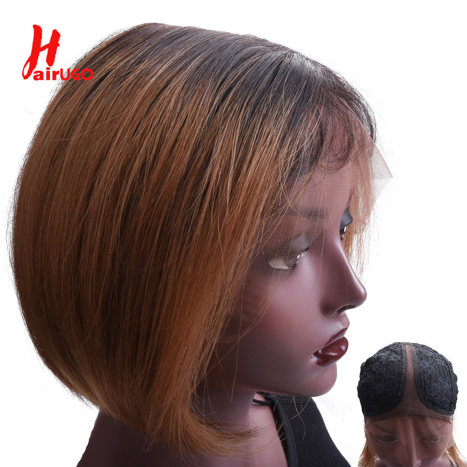 1B30 Straight Bob Wig Lace Part Human Hair Wigs Non-Remy Colored 1B530 Ombre Human Hair Wigs for Women Pre Plucked 150% HairUGo