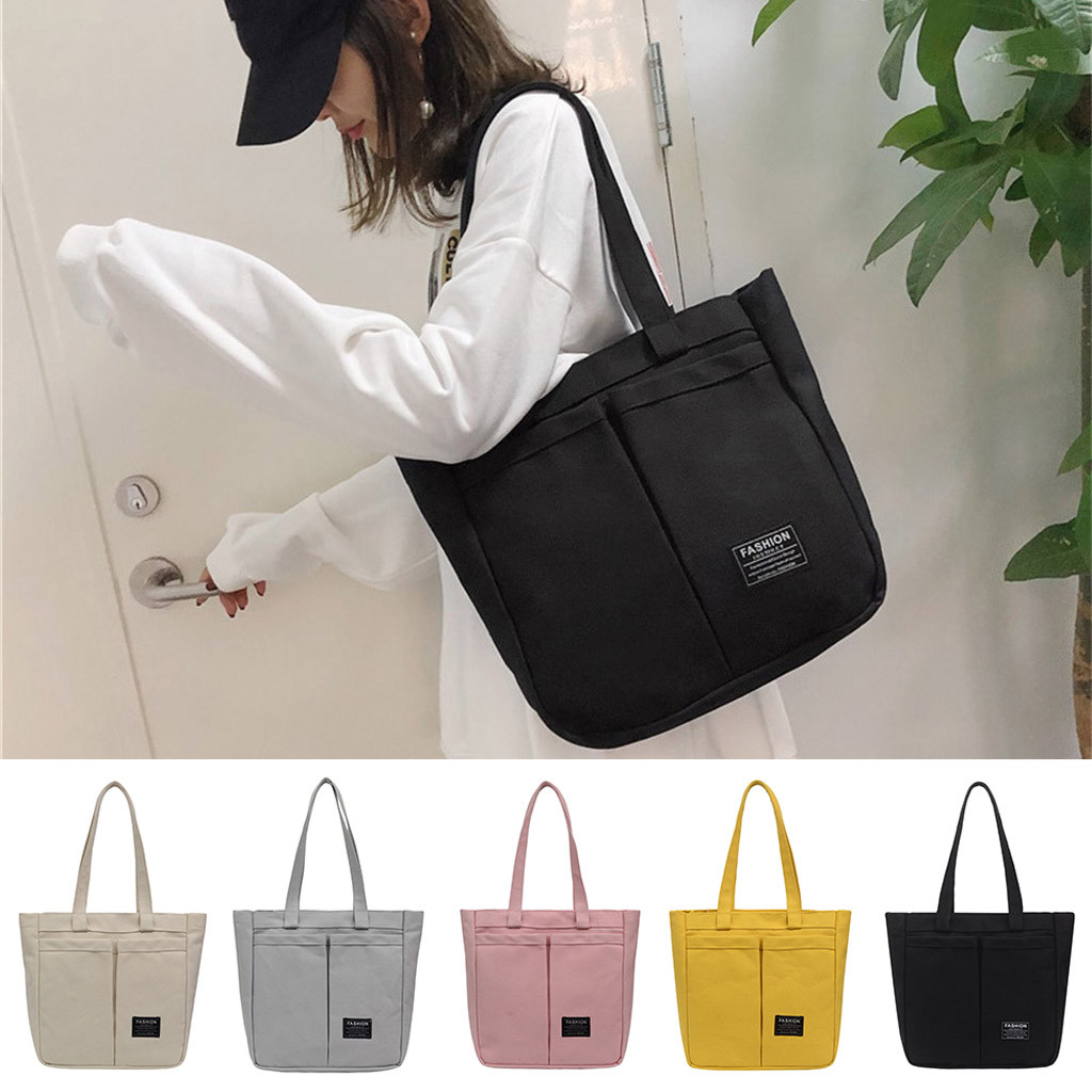 2019 Tote Bag Women Pure Color Reusable Shopping Bag Casual Tote Outdoor Bags Canvas Handbag Zipper Shoulder Bag