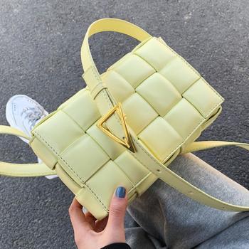 Bandoleras tejidas, bandolera cuadrada, novedad de 2020, bolso de diseño de piel sintética de alta calidad para mujer, bandolera de hombro de viaje