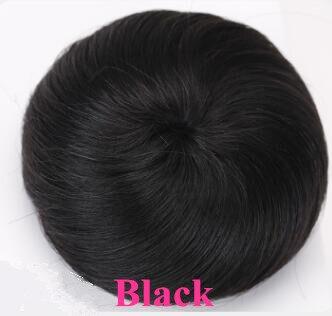 Шнурок шиньоны конский хвост наращивание волос булочка шиньон для создания прически бразильские человеческие волосы булочка пончик шиньоны волосы кусок парик не Реми - Цвет: Black-Straight