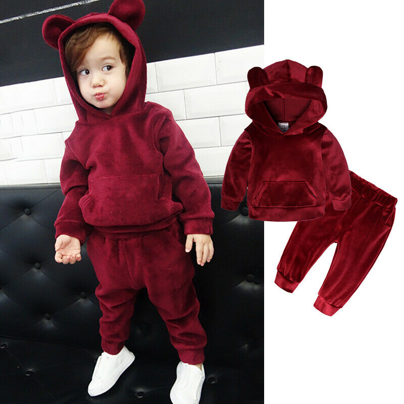 2pcs Toddler Boy Girl Winter Clothes Sets 1-5Y Solid Long Sleeve Velvet Hooded Tops+Pants Warm Outfits Set