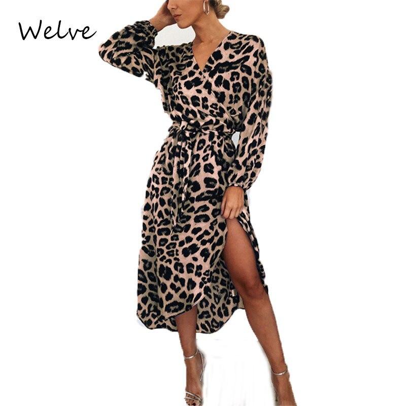 Welve Autumn Women Dress  Leopard Dress Ladies Luruxy  Vintage Dress Long Sleeve Deep V-neck Sexy Party Dress Female