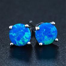 Новый стиль хит продаж модные и простые синие круглые серьги