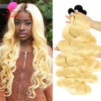La belleza de la Reina 1/3/4 PC de dos tonos de Color degradado pelo brasileño 1B/613 de la onda del cuerpo Rubio mechones de cabello humano postizo Remy del pelo puede ser teñido