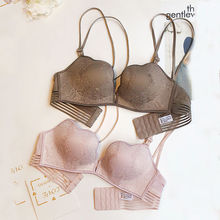 French Panties and Bra Set Ruffles Underwear Set Women Lingerie Sexy Ultra Thin Wire Free Push Up Bra Thong  Intimates  2piece french style women sexy bra and panty set lace bralette retro underwear ultra thin lingerie wire free bra thong set intimates