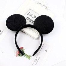 Christmas Black Mickey Ears Shiny Headbands Bows for Girls Baby Hair Accessories Birthday Party Celebration Hair Hoop Hot