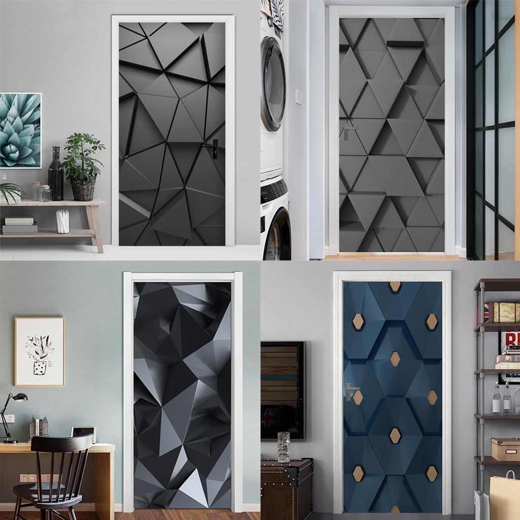 PVC Self Adhesive Bedroom 3D Geometric Door Sticker DIY Renovation Mural Waterproof Print Picture Home Decor Renovation Poster