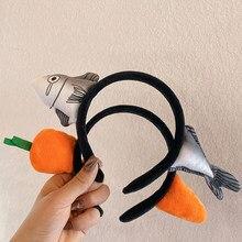 Cabeça de cenoura engraçado vestir peixe salgado hairpin feminino adulto headwear cosplay festa acessório tubarão bandana