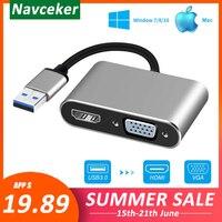 2020 USB 3.0 to HDMI VGA 어댑터 Mac OS USB to VGA HDMI 어댑터 1080P 변환기 지원 Windows7/8/10 용 HDMI VGA 동기화 출력