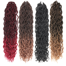 Pageup 24 Roots 18Inch Goddess Faux Locs Crochet Braids Hair Ombre Synthetic Curly Dreadlocks Extensions For Women