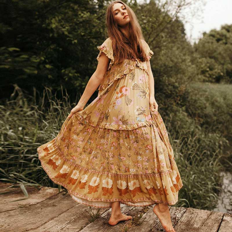KIYUMI Dress Women Rayon Summer Dress Wild Bloom Boho Short Sleeve Print Ruffles Casual 2019 Loose Beach Yellow Long Dresses New