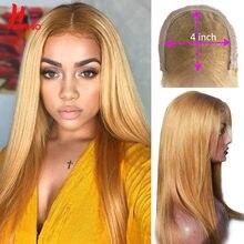 Malásia #27 loira em linha reta fechamento perucas 30 # perucas coloridas para mulheres ombre 4*4 fechamento do laço perucas de cabelo humano remy preplucked 150%