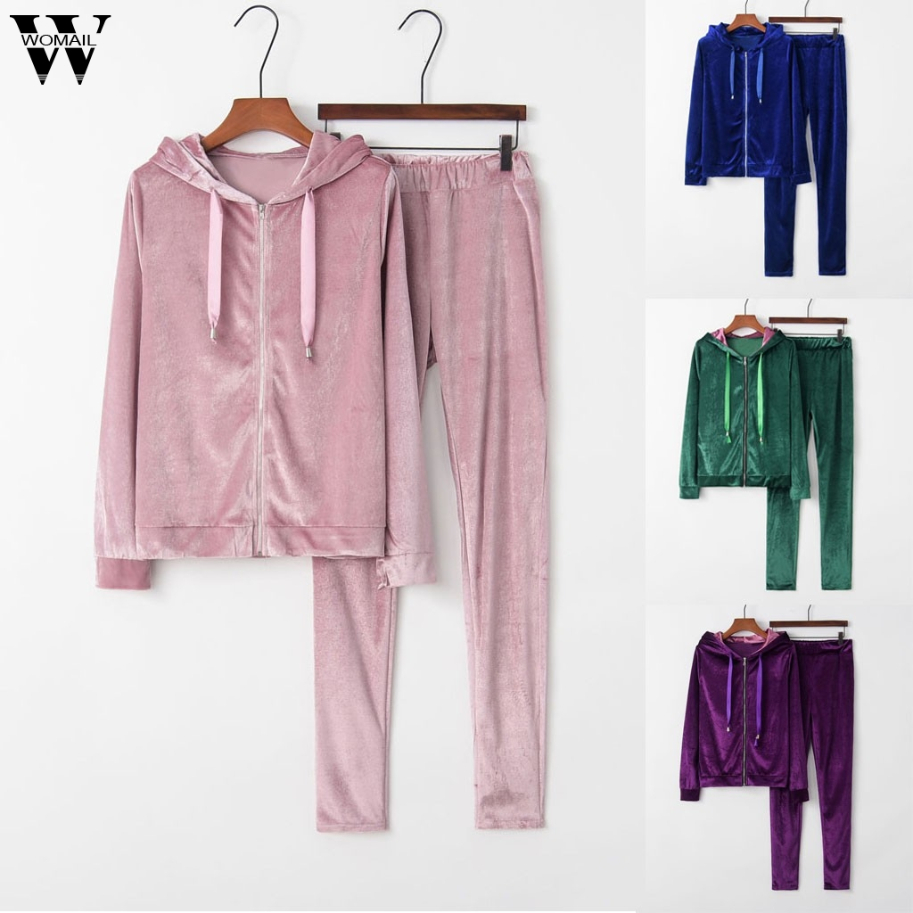 Womail Tracksuit Women Autumn Warm Velvet Sportwear Set Two Piece Set Zipper Hoodies Sweatshirt Crop+Pant Suit Jogging Tracksuit