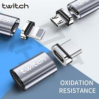 Twitch-adaptador magnético tipo C para iPhone, Samsung, Huawei, Cable Micro USB a tipo C, convertidor magnético, adaptador USB