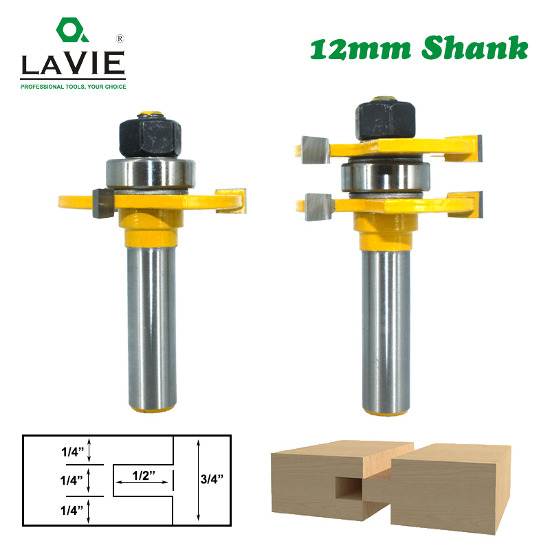 2pcs 12MM Shank Tongue & Groove Joint Assemble Router Bits 3/4