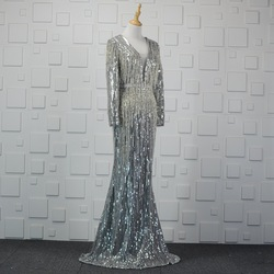 Long Sleeves Evening Dresses Sexy V Neck Sliver Champagne Mermaid Beading Sequins Woman Celebrity Formal Gowns