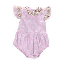 0-24M baby girl bodysuit sequin lace appliques silver snow print onesie little girls clothing summer clothes