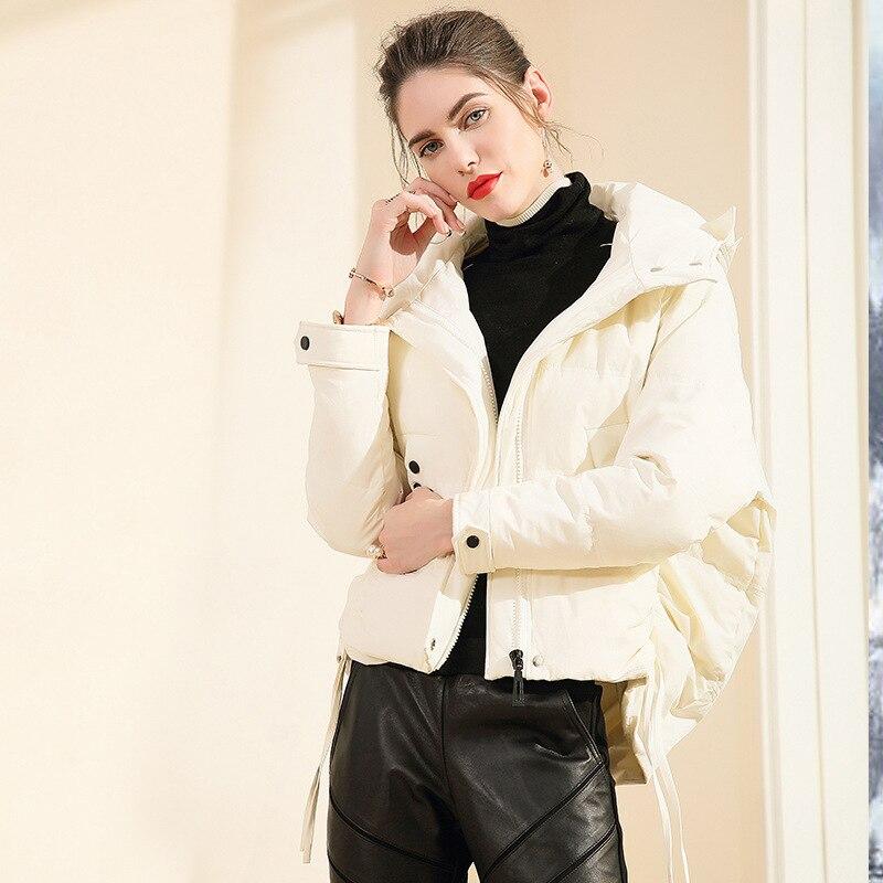 Winter Down Jacket Women 90% White Duck Down Coat Female Short Loose Thick Warm Down Parkas Hooded Coat Jackets LWL1178