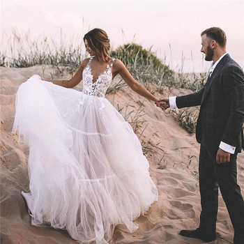 Boho Wedding Dresses Puff A Line Long Backless Beach Wedding Gown Appliques Lace Top Bride Dress 2020 Vestido De Noiva lorie boho wedding dresses puff a line long backless beach wedding gown appliques lace top bride dress 2019 vestido de noiva