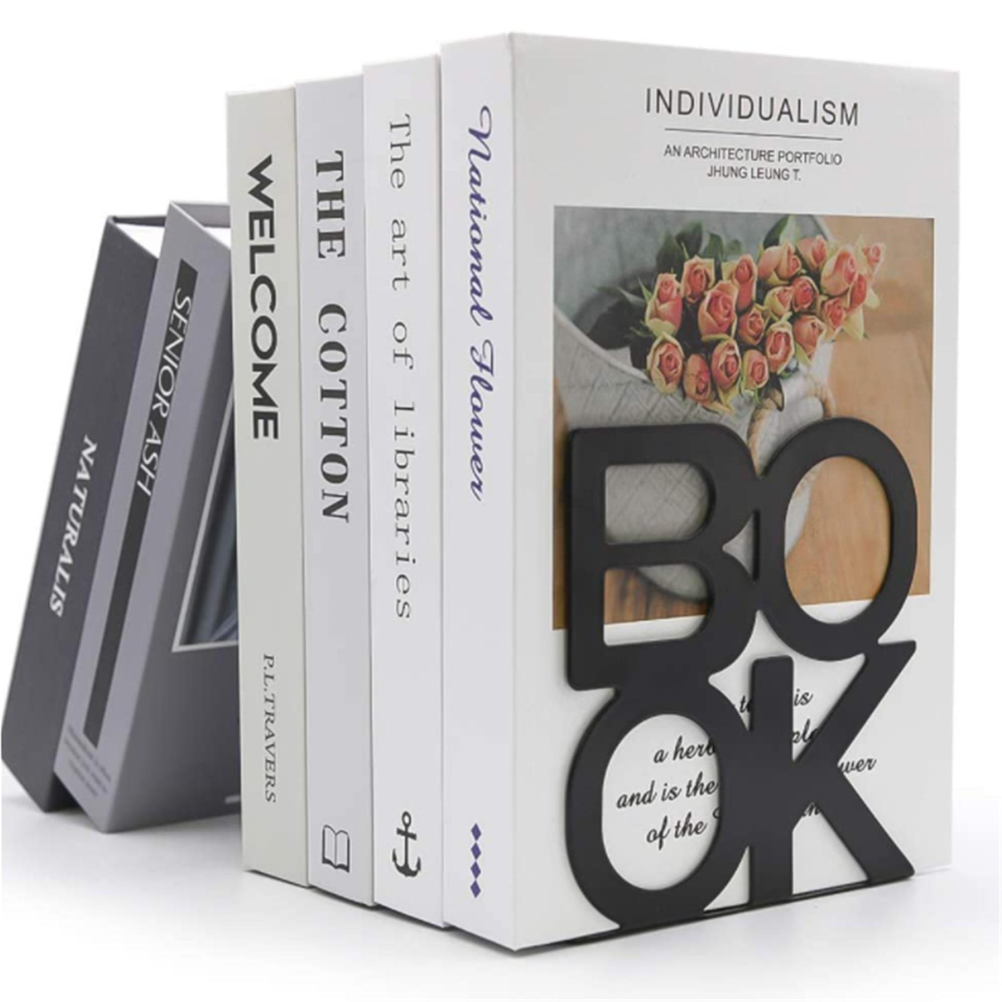 2pcs Bookend Book Stand Support Sample Bookend Iron Desktop Art Non Slip Rack Shelf Holder School Stationery Office Accessories