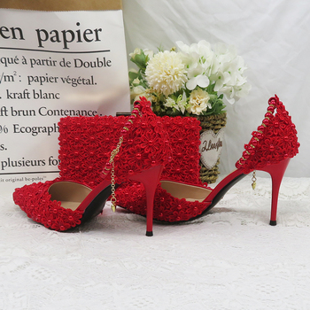 Red Pearl Flower Wedding Shoes With Matching Bags High Heels Pointed Toe Ankle Strap Ladies Party shoe and bag set