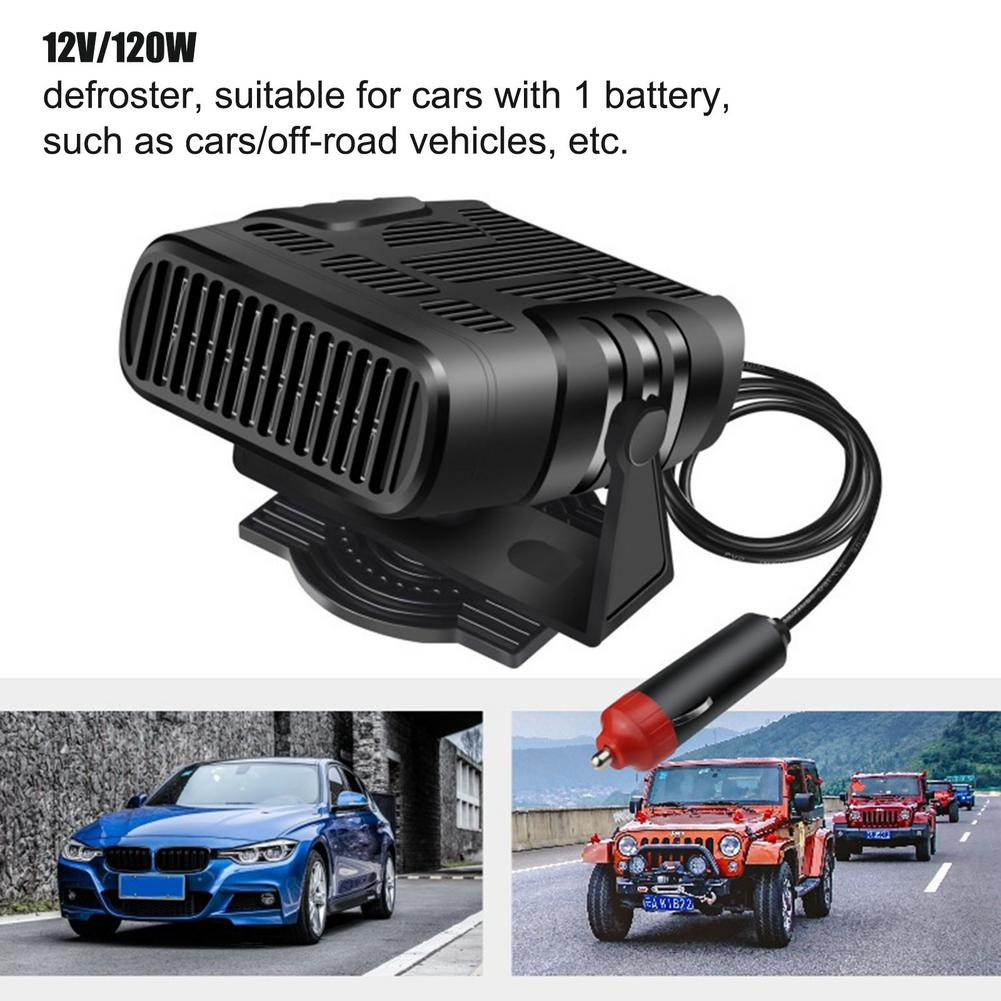 2 IN 1 Portable 12/24V 120W Auto Car Heater Defroster Demister Electric Heater Windshield 360 Degree Rotation ABS Heating Coolin