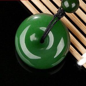 Прямая доставка зеленый HETIAN Jades кнопка безопасности кулон пончик Подвески ожерелье Женская Мужская мода ювелирные изделия