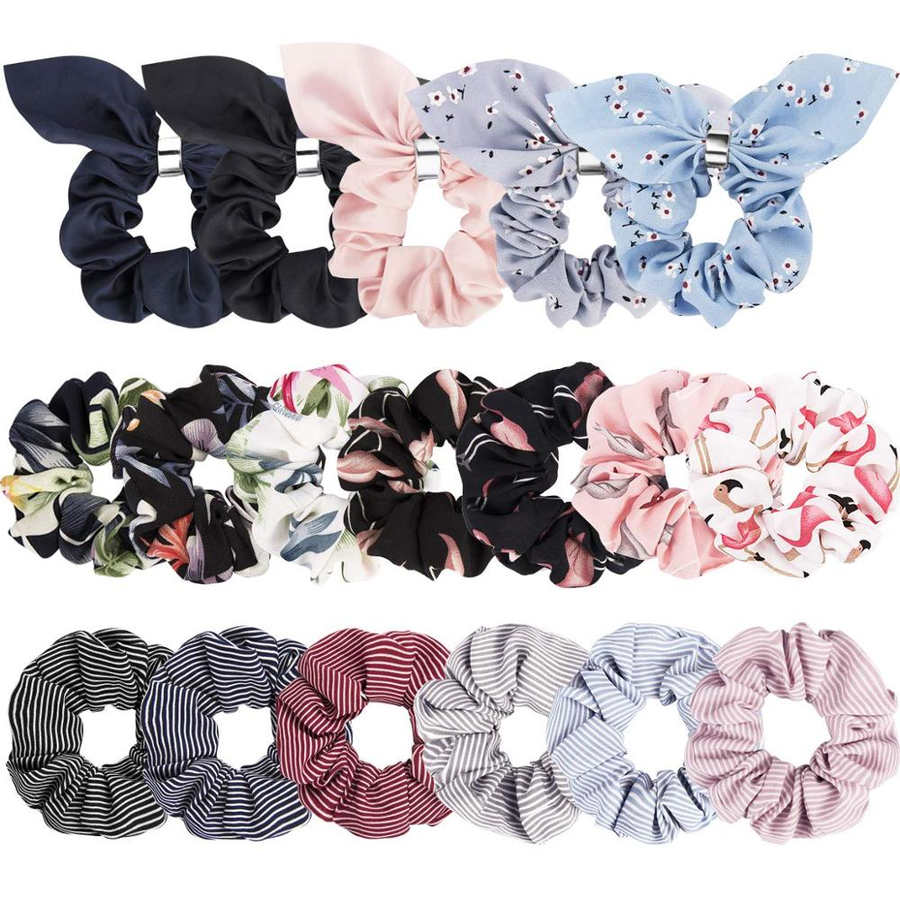 18 Pack Scrunchies For Hair Cute Scrunchies Women Hair Scrunchies Chiffon Flowers Elastic Hair Bands Scrunchy Hair Ties Ropes