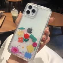 IPhone 12 Pro Max sıvı sert telefon kabuk için iPhone 11 6 6S 7 8 artı X XR SE kılıfları dinamik Quicksand sevimli çiçek kılıfı çapa