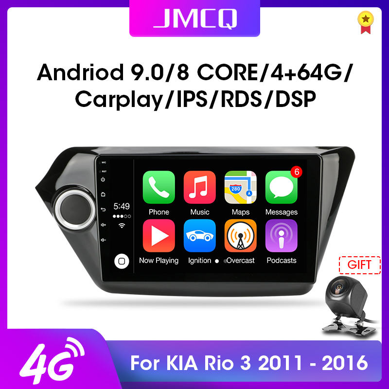 JMCQ Android 9.0 T3L For KIA RIO 3 2011-2016 Car Radio Multimidia Video Player Navigation GPS Car Stereo System 2+32G DSP 2din