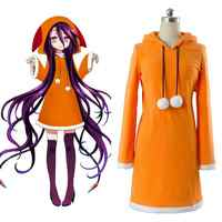 NO GAME NO LIFE Zero Hubi / Jubi Cosplay costume Yellow jumpsuit with hood Cute with ear hat clothes