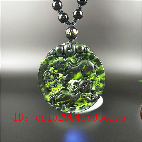 Certified Chinese Natural Black Green Jade Rabbit Pendant Beads Necklace Charm Jewelry Hand Carved Amulet Gifts For Men Her