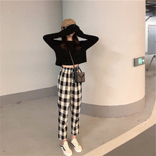 New Autumn Style Fashion Chequered Broad-legged Pants Two-piece Suit for 2019