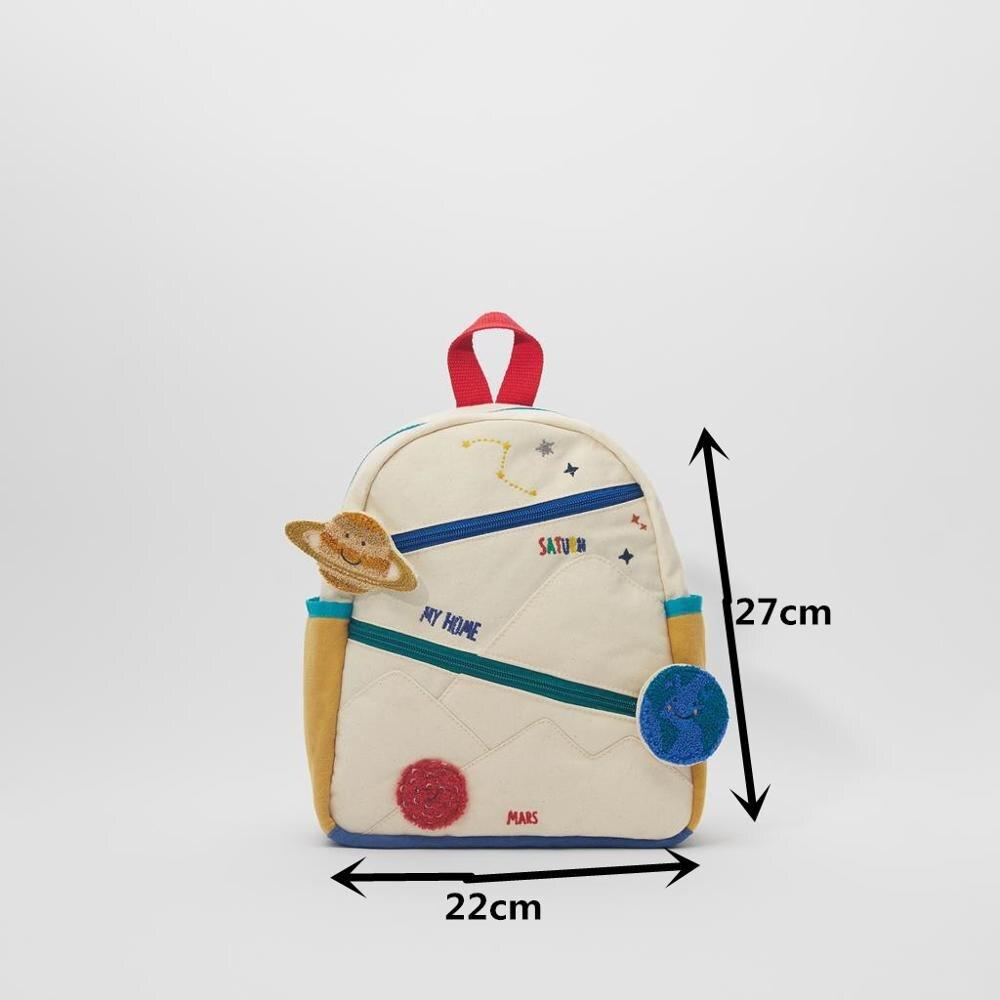 Новый детский хлопчатобумажный холщовый рюкзак с вышивкой земля Звезда шар милая девушка цвет сочетается Повседневная маленькая школьная сумка-1