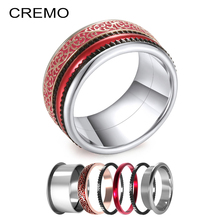 Cremo Red Enamel Rings Women Black Gear Band Trendy Retro Interchangeable Silver Fashion Ring Layers Anillo Bijoux