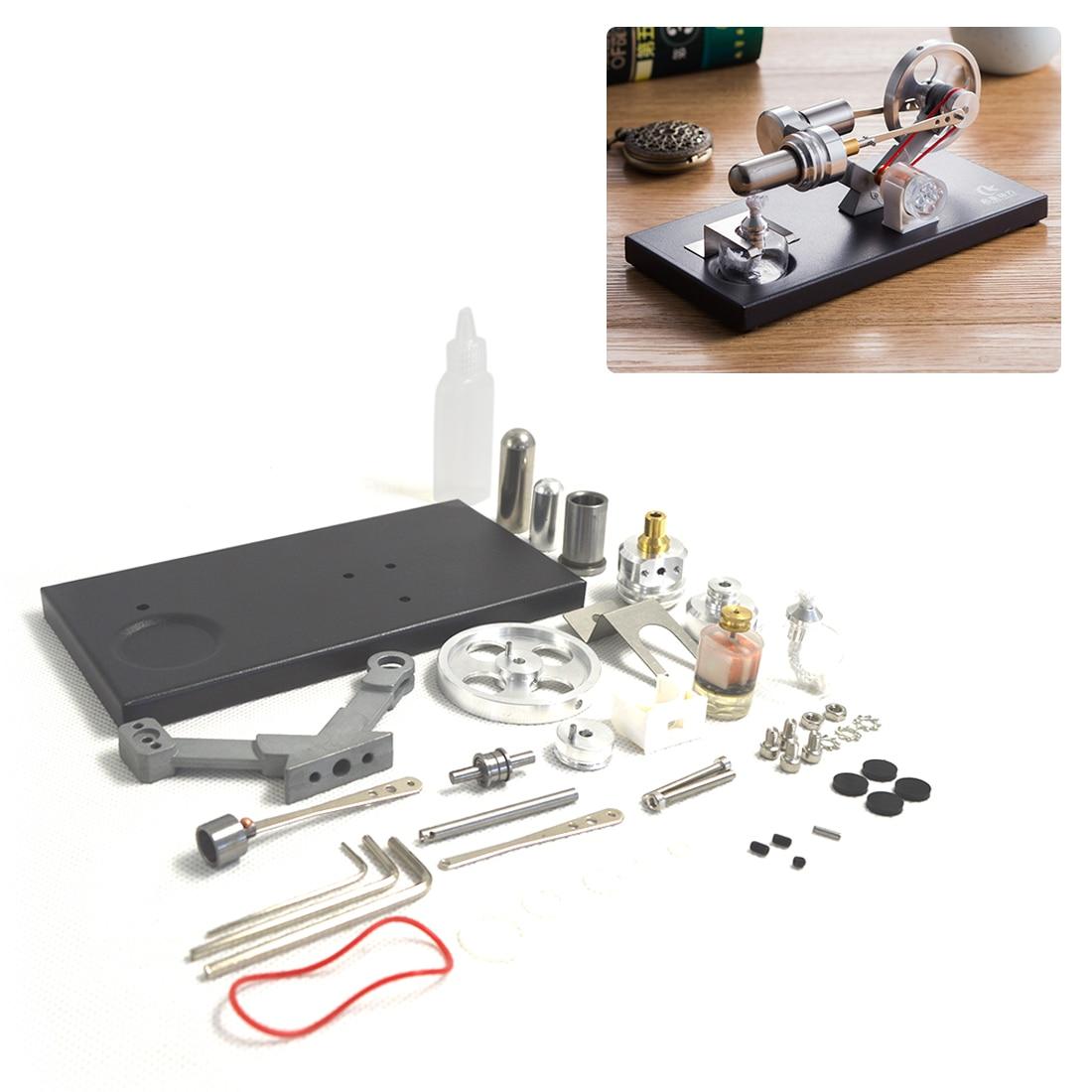 Metal Cylinder Stirling Engine Generator Heat Engine With 4 LED Lights And Black Metal Base DIY Steam Model Set-Assembly Version