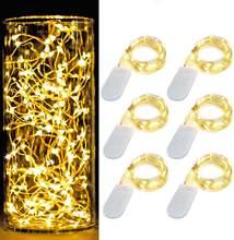 10 pçs/lote 1m/2m/3m/5m fio de cobre led luzes da corda iluminação do feriado guirlanda de fadas para a árvore de natal festa de casamento decoração