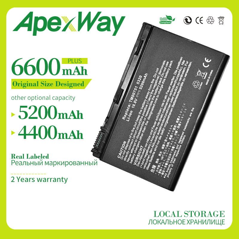 Apexway 4400mAh 10.8v laptop battery for Acer Extensa 5220 <font><b>5630G</b></font> 5620Z 5630 7220 7620 7620G 5235 Series TM00741 TM00751 GRAPE32 image