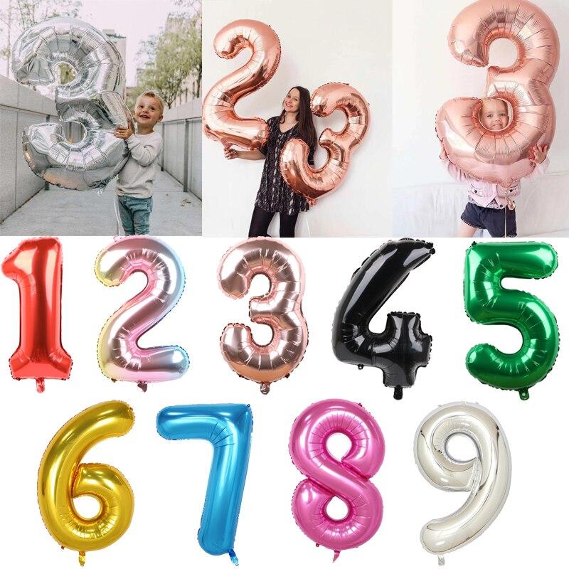 30 40 Polegada grande folha balões de aniversário ar hélio número balão festa de aniversário decoração crianças ouro prata verde figuras ballon