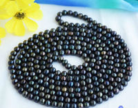 stunning9 10mm freshwater multicolor black green red pearl necklace 48inch 925silver