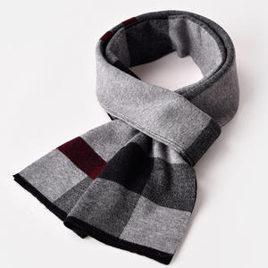 Winter Striped Wool Scarf For Men Warm Soft 100% Wool Scarfs Man Sheep Wool Scarves