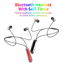 ETIMGA Wireless Earphone Bluetooth Headset TWS Hanging Neck 9D Stereo Round Self-timer Couple wear each For iphone x 11 Huawei(China)