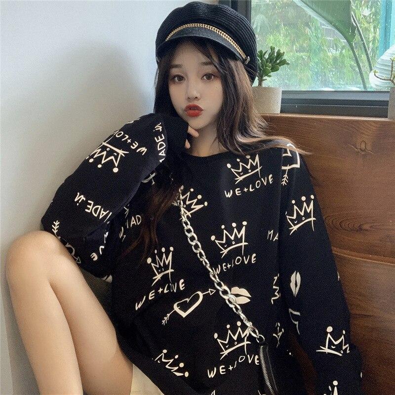 Spring Womens Clothes Hoodies Teen Street Hip Hop Pastel Sweatshirt Korean Version Student Printing Loose Leisure Hoodie Bts