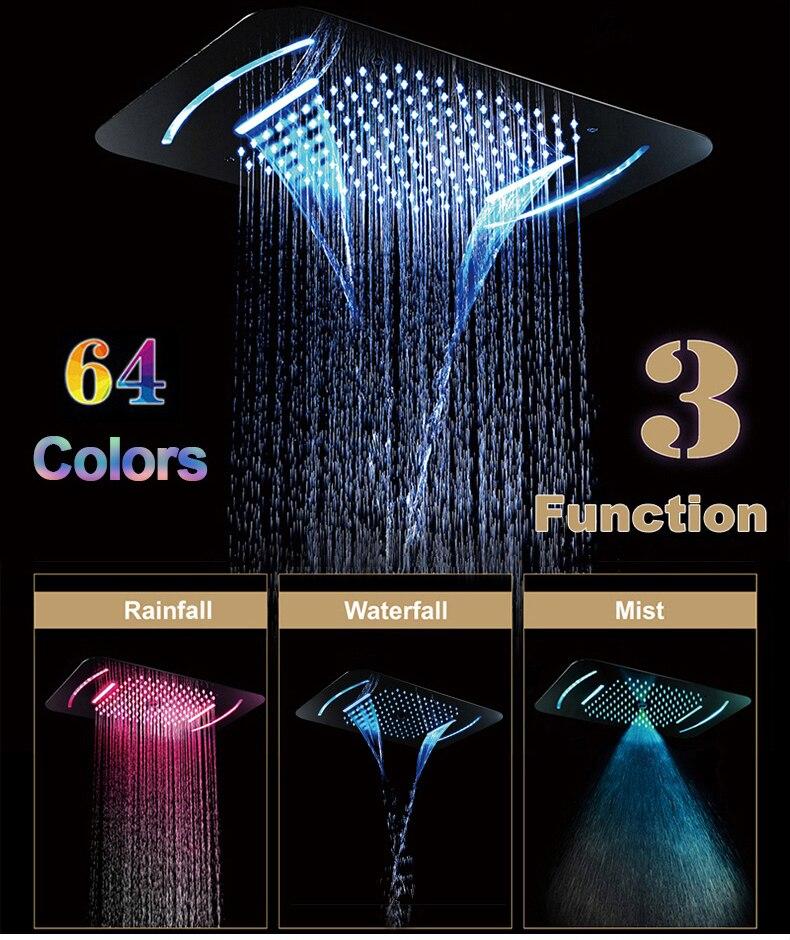 He8cfedfb22424ac386697d496d4e3e67d M Boenn Rain Shower System LED Shower Panel Bathroom Faucet Thermostatic Valve Bath Mixer Tap Embedded Ceiling Shower Set Chrome