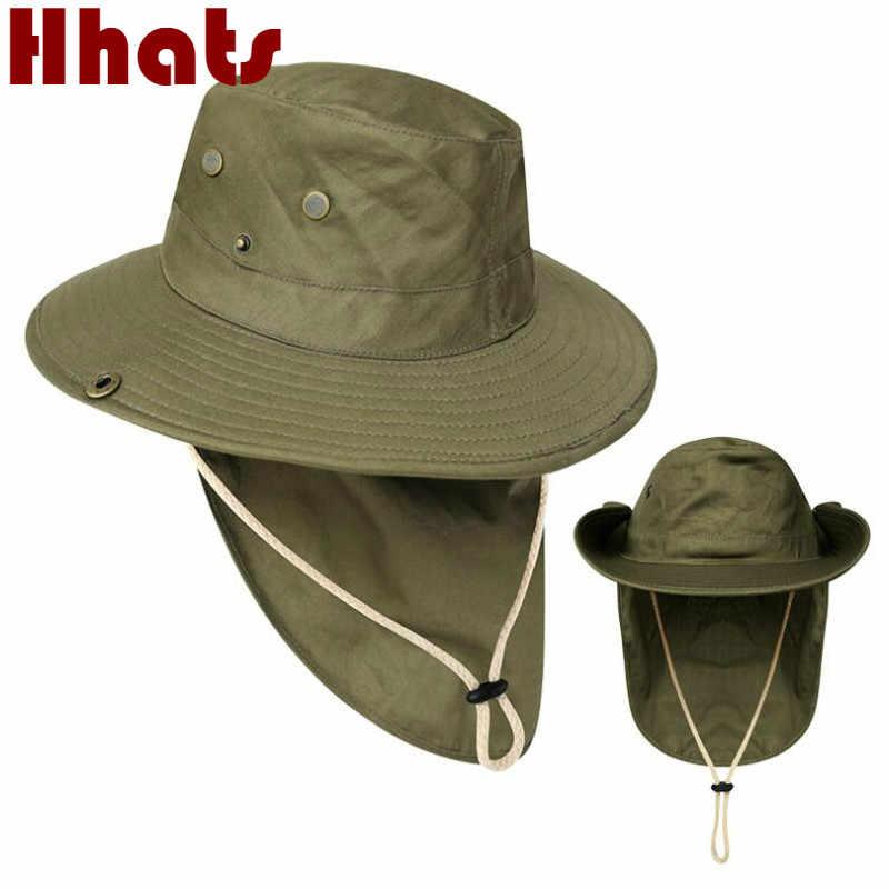 Duże rondo wiadro kapelusz z sznurkiem ochrona przed promieniowaniem UV czapka wędkarska odkryty Camping piesze wycieczki rybaków czapka z szerokim rondem szyi chronić kapelusz słońce