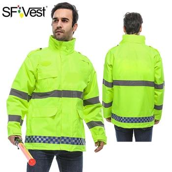SFVest Fluorescent Yellow High Visibility Reflective Rainwear Coat Luminous Safety Raincoat