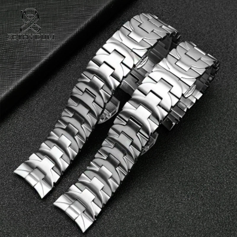 Stainless Steel Banding Strap 24mm Mens Watches Top Brand Luxury Black Strap For PAM 111 Stainless Steel Butterfly Buckle Strap