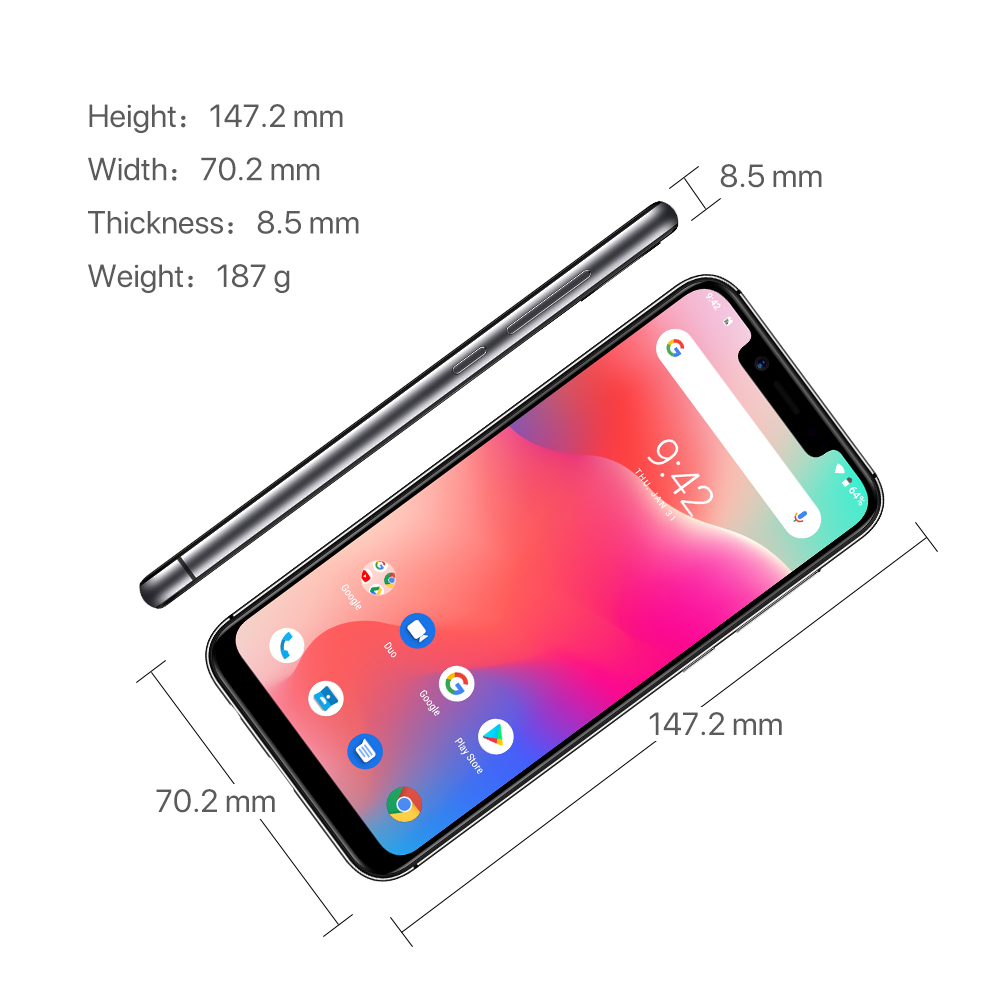"""Refurbished UMIDIGI A3 Pro Global Band Android 8.1 5.7""""19:9 Full Screen Moblie Phone 3GB+16/32GB 12MP+5MP Face Unlock Smartphone 4"""